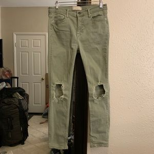Free People High Rise Busted Skinny Jeans green